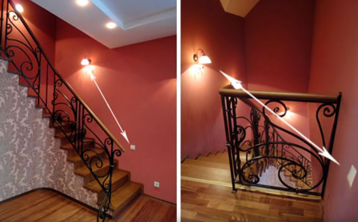 применение проходного выключателя в двухэтажном особняке на лестнице