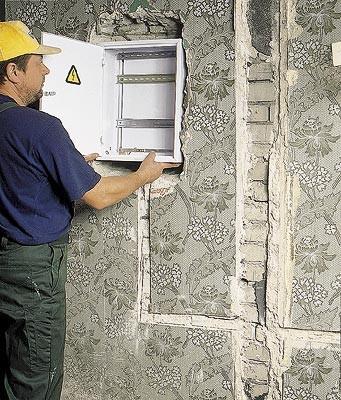 крепление электрощита в стену