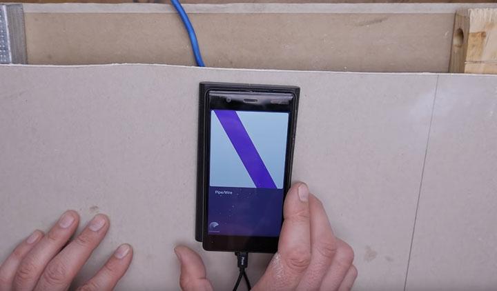 поиск проводки и кабелей за стеной и под штукатуркой при помощи телефона и walabot