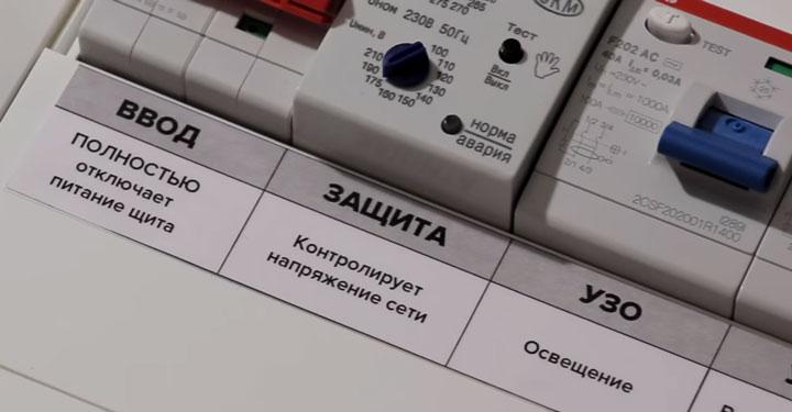 надписи на модульном оборудовании в щитке после сборки