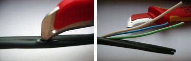 зачистка кабеля ножом электрика