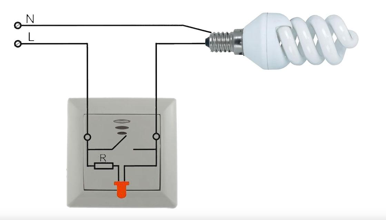 подключение подсветки выключателя и мигание светодиодной лампы