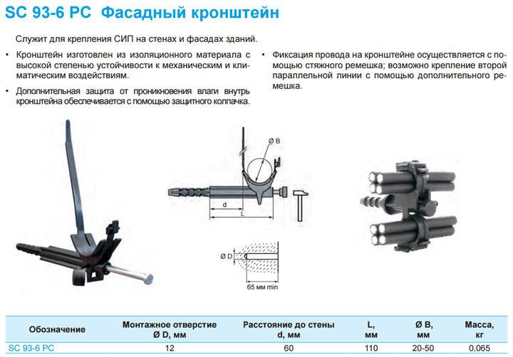 фасадный кронштейн sicam для СИП SC 93-6 PC технические параметры