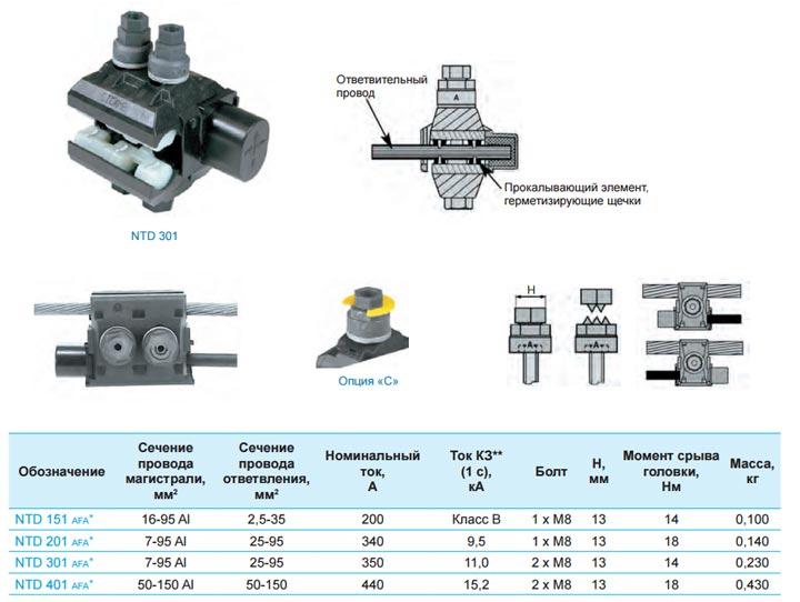 подключение голых проводов через прокол Sicam