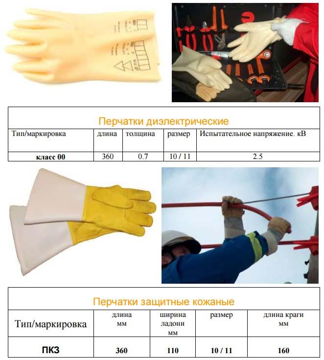 диэлектрические перчатки и брезентовые рукавицы для работ под напряжением