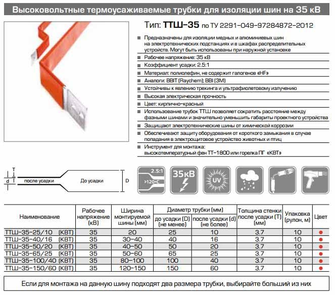 термотрубка для шин напряжением 35кв
