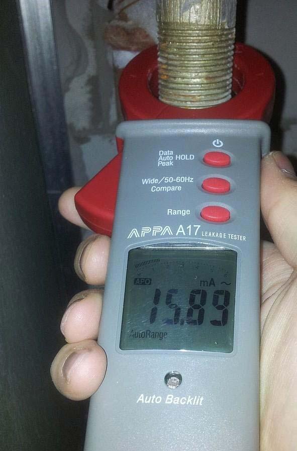 замер тока утечки в металлическом трубопроводе от стиральной машинки