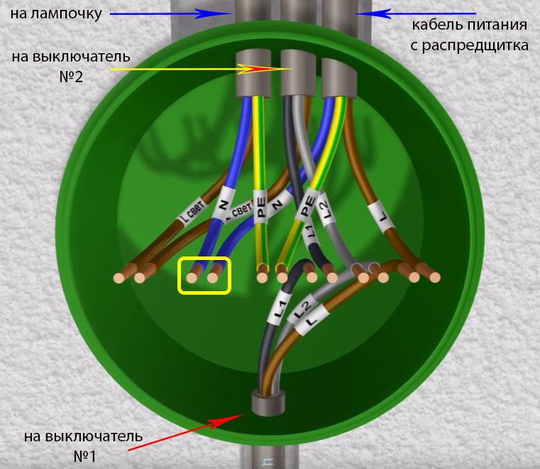 подключение нулевых жил в распаечной коробке проходного выключателя