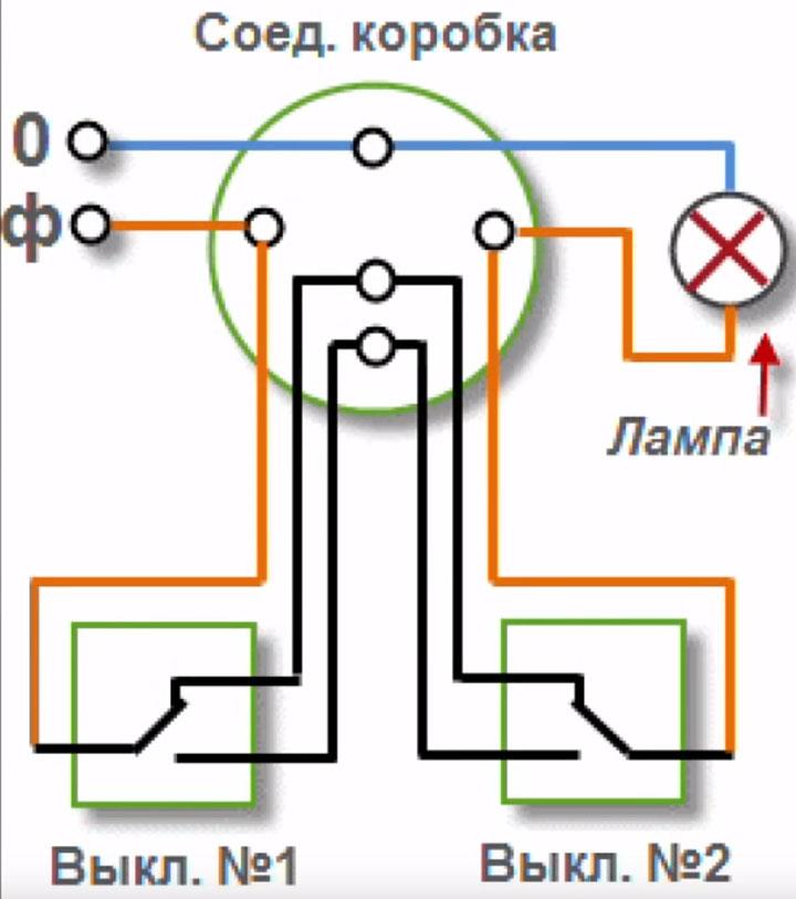 схема подключения проходных выключателей 2 штуки