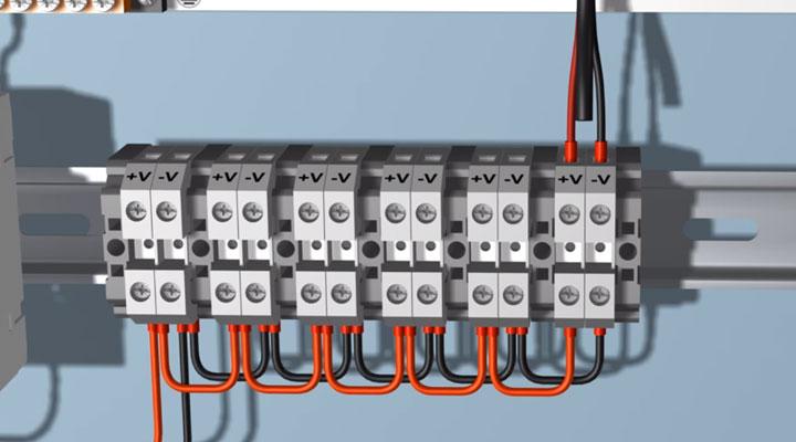 подключение проводов питания видеокамер в щитке