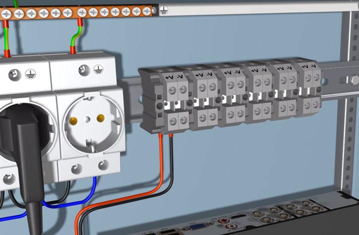 подключение проводов 12В к колодкам для видеокамер