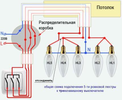 Схема подключения люстры 5 лампочек 530
