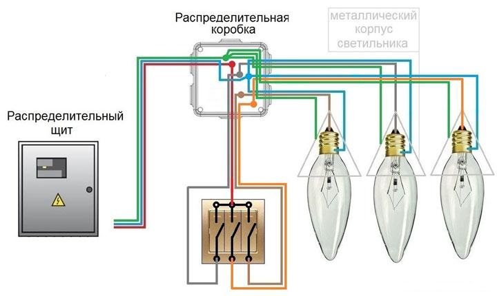 Как подключить трехклавишный выключатель максимально быстро. Ответ.