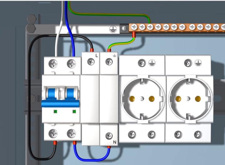 схема подключения модульного разрядника в распределительном щитке