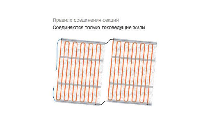 соединение и резка секций теплого пола