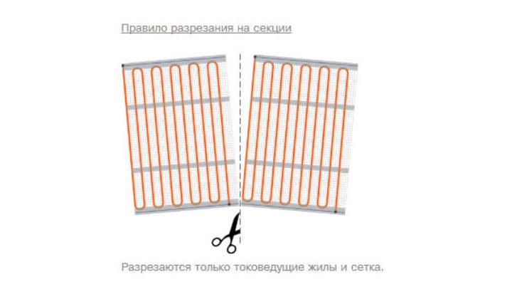 как можно резать секции теплого мата