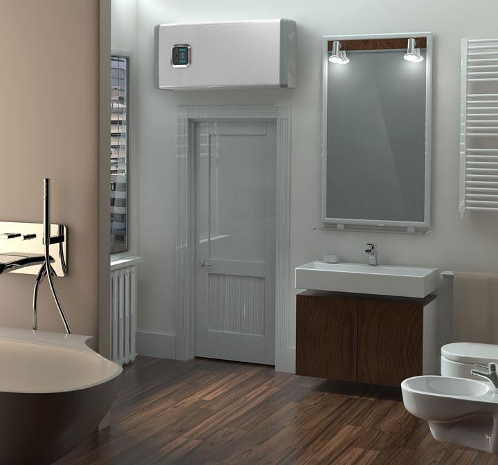бойлер горизонтальный в ванной комнате над дверью