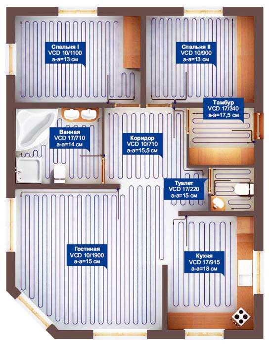 схемы укладки нагревательного кабеля в разных помещениях