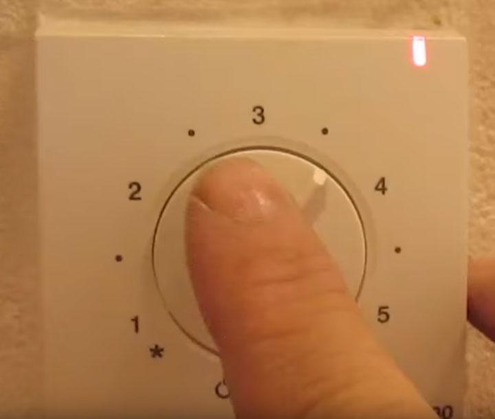 положение терморегулятора в режиме таймера обогрев полов
