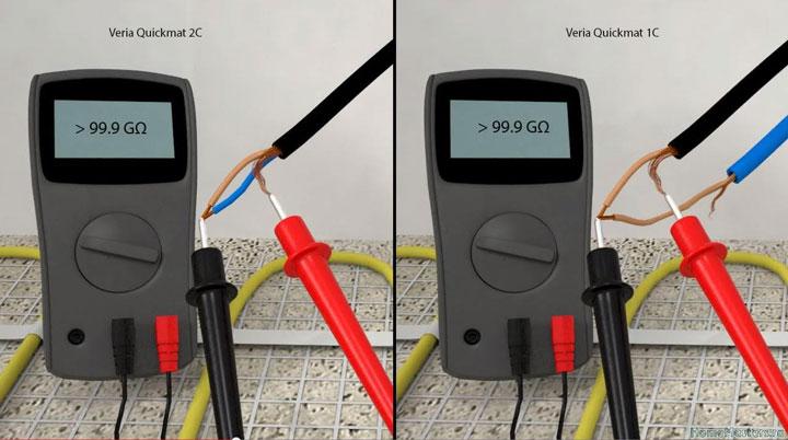 измерение сопроитвления изоляции нагревательного мата мультиметром между жилой и экраном