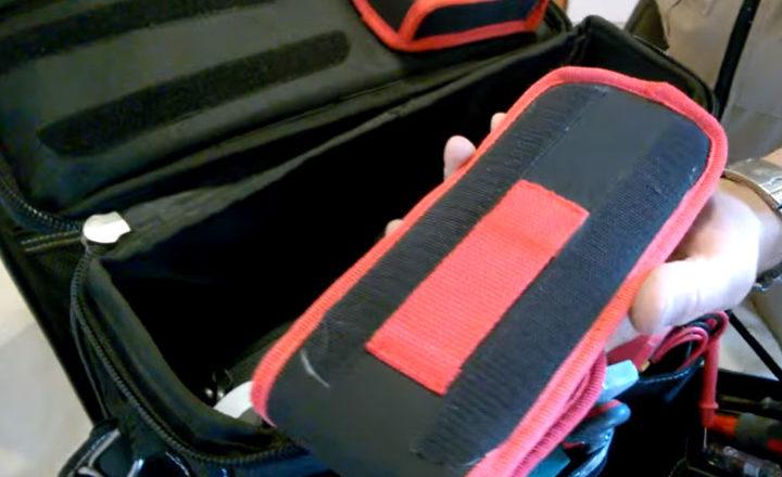 как закрепить на липучке измерительный инструмент в сумке КВТ С-04