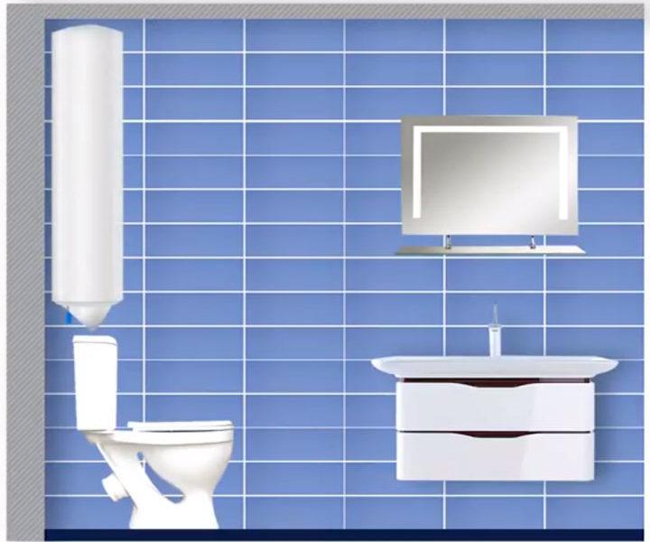 вертикальное размещение водонагревателя над унитазом