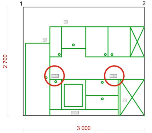 план схема расположения розеток на кухне