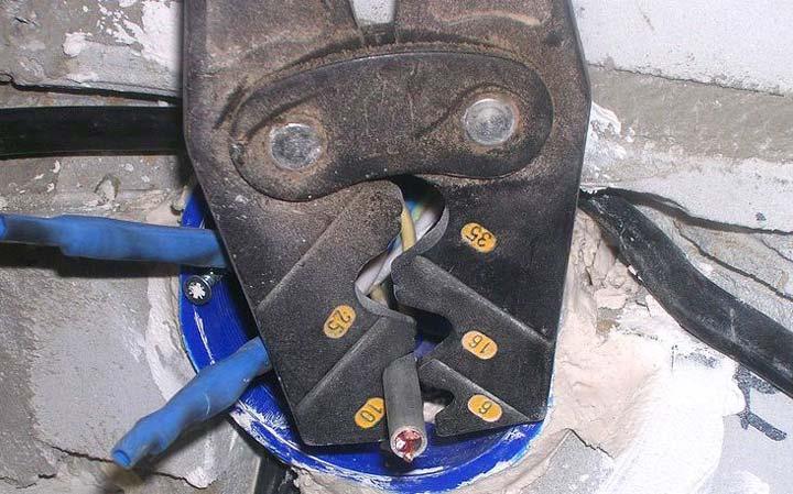 опрессовка гильзой медных и алюминиевых проводов