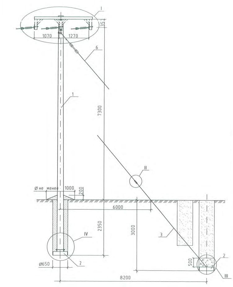 схема монтажа анкерной опоры ВЛЗ-35кв с проводом СИП-3