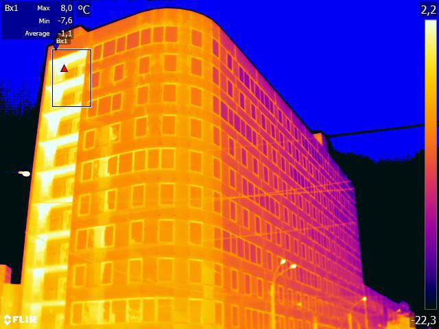 тепловизионное обследование многоэтажного дома