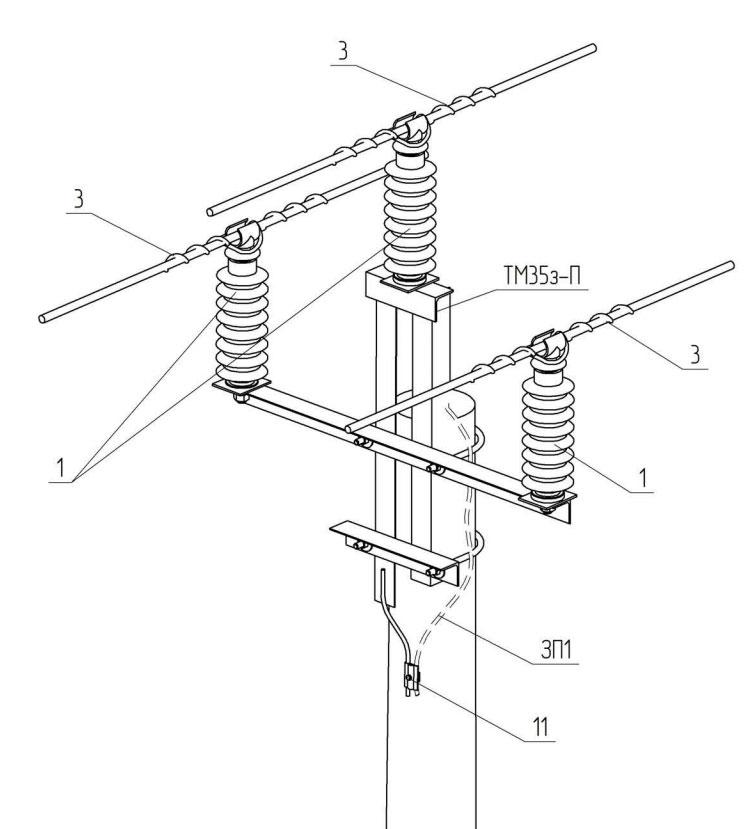 промежуточная опора ВЛЗ-35кв с проводами СИП-3