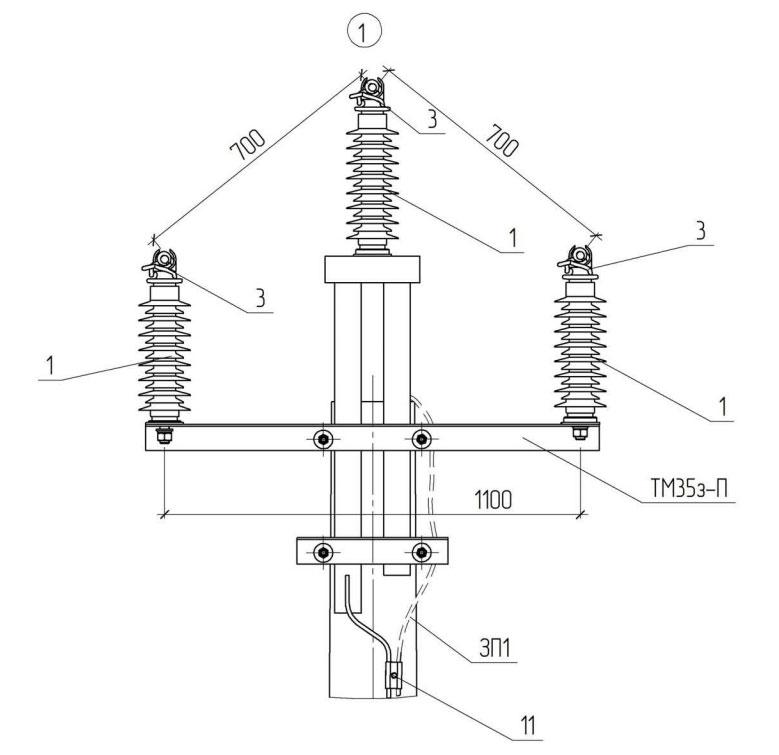 траверса промежуточной опоры ВЛЗ-35кв с проводами СИП-3