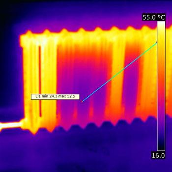 обследование тепловизором радиаторной батареи