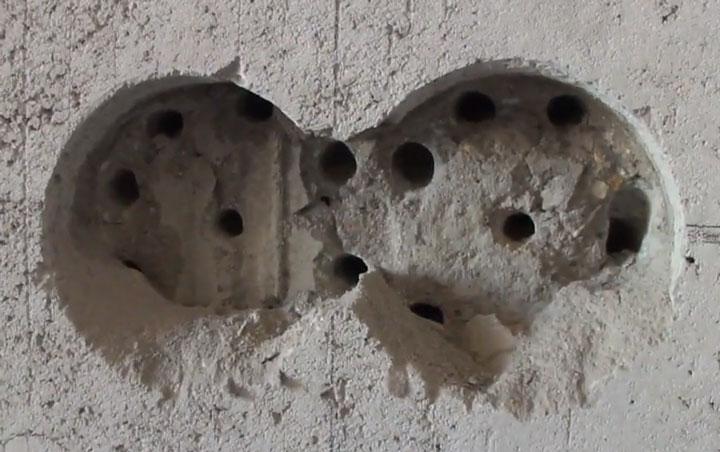 высверливание подрозетников в высокопрочном бетоне