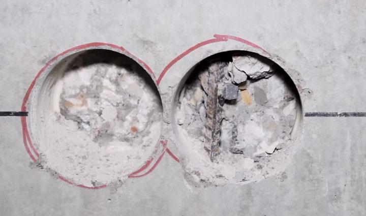 высверливание арматуры в высокопрочном бетоне