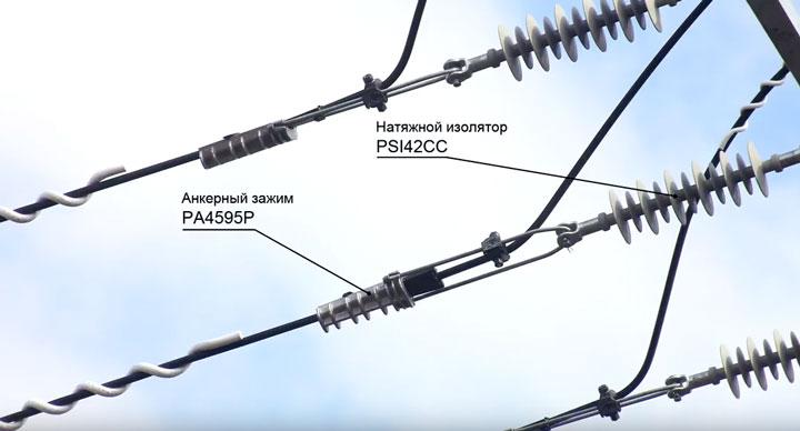 натяжные полимерные изоляторы на анкерной опоре ВЛЗ-35кв