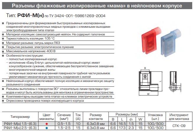 разъемы РВИ-М(н) технические характеристики и размеры