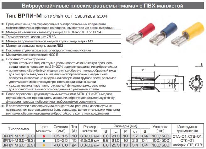 разъемы ВРПИ-М технические характеристики и размеры
