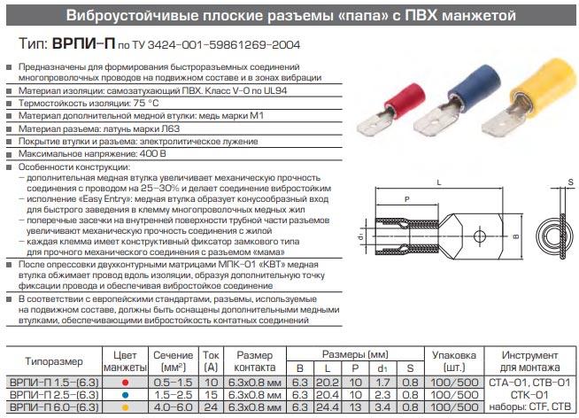 разъемы ВРПИ-П технические характеристики и размеры