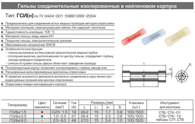 соединители ГСИ(н) технические характеристики и размеры