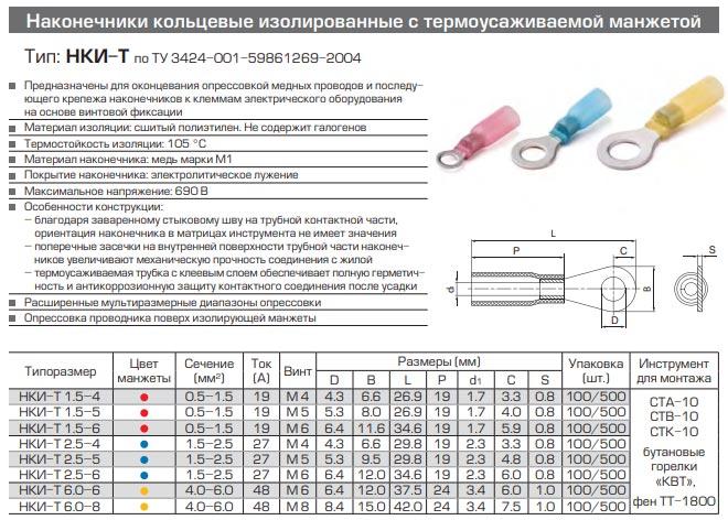 наконечники НКИ-Т технические характеристики и размеры