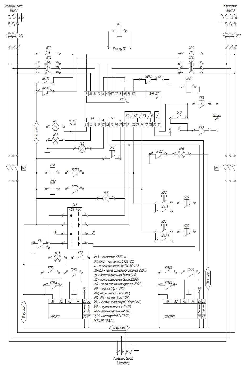 схема АВР перевода питания на генератор при исчезновении напряжения на вводе