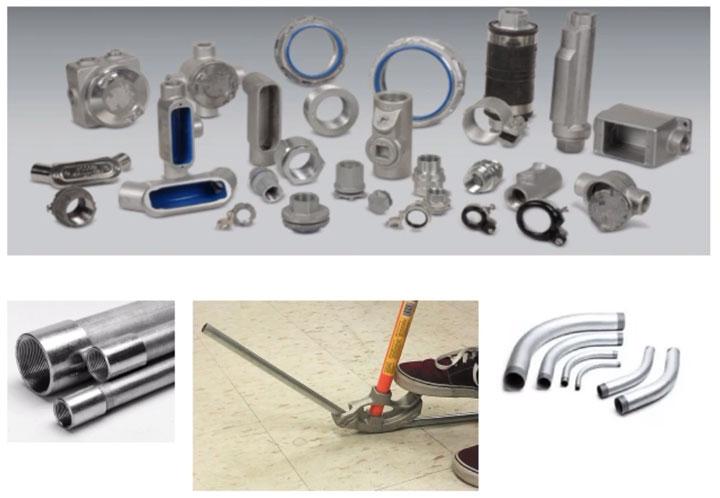 фитинги и материал для монтажа проводки в металлических трубах