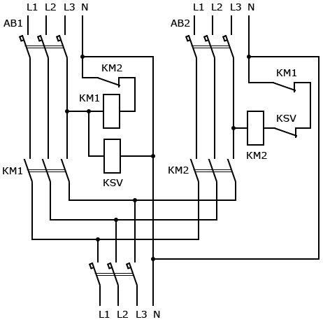 схема АВР трехфазная на двух пускателях
