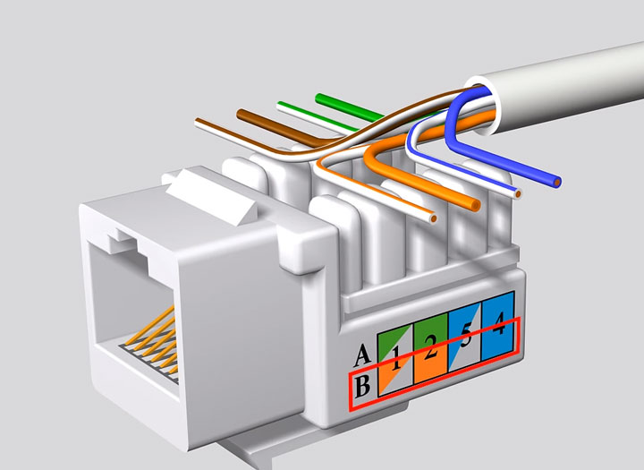 разделка кабеля интернет UTP при подключении розетки