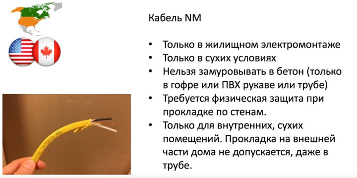 американский кабель для проводки NM его характеристики