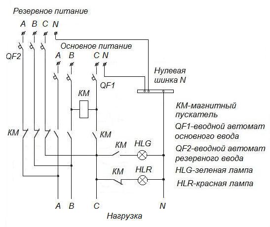 схема подключения АВР на одном пускателе 380В