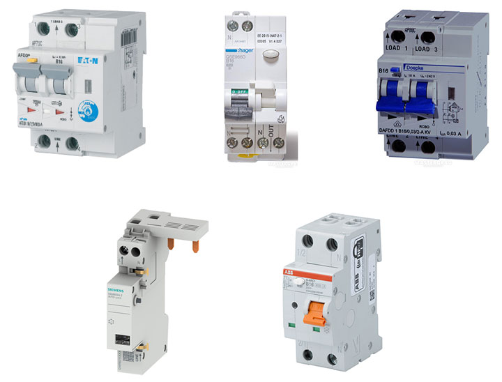 устройства защиты от искрения зарубежные ABB, Siemens, Eaton, Hager