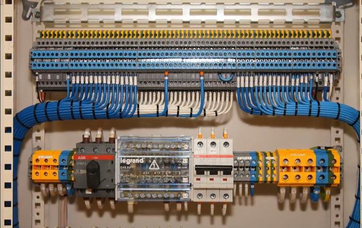аккуратная сборка электрощита на клеммниках