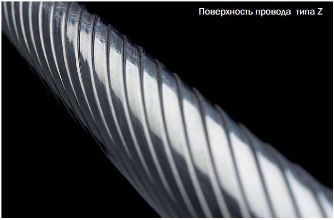 гладкая внешняя поверхность проводов aero-z
